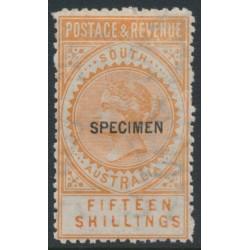 AUSTRALIA / SA - 1892 15/- orange Long Tom overprinted SPECIMEN, MH – SG # 198as