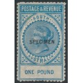 AUSTRALIA / SA - 1892 £1 bright blue Long Tom overprinted SPECIMEN, MH – SG # 199as