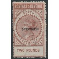 AUSTRALIA / SA - 1892 £2 Venetian red Long Tom overprinted SPECIMEN, MH – SG # 200as
