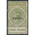 AUSTRALIA / SA - 1892 £3 olive-green Long Tom overprinted SPECIMEN, MH – SG # 202as