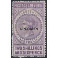 AUSTRALIA / SA - 1886 2/6 violet Long Tom overprinted SPECIMEN, MH – SG # 195as