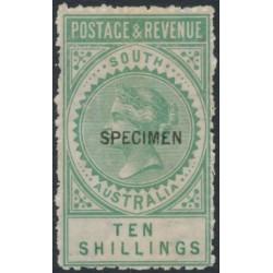 AUSTRALIA / SA - 1886 10/- green Long Tom overprinted SPECIMEN, MH - SG # 197as