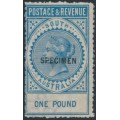 AUSTRALIA / SA - 1886 £1 blue Long Tom overprinted SPECIMEN, MH – SG # 199as