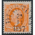 SWEDEN - 1896 25öre red-orange Oscar II with crown watermark inverted, used – Facit # 57avm¹