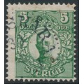 SWEDEN - 1911 5öre green Gustaf V in medallion with portions of two crown watermarks, used – Facit # 75bvm²