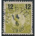 SWEDEN - 1918 12öre on 65öre green-yellow Gustaf V in medallion, used – Facit # 101