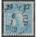 SWEDEN - 1918 27öre on 55öre light blue Gustaf V in medallion, used – Facit # 102