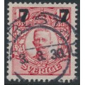 SWEDEN - 1918 7öre on 10öre carmine-red Gustaf V in medallion, used – Facit # 99a