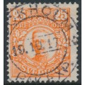 SWEDEN - 1911 25öre orange Gustaf V in medallion, used – Facit # 86b