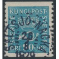 SWEDEN - 1925 90öre blue Crown and Posthorn, used – Facit # 167a