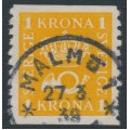 SWEDEN - 1935 1Krona Crown and Posthorn on white paper, used – Facit # 168d