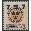 SWEDEN - 1918 7+3 on 5+FEM on 2öre orange Ring Type, inverted lines watermark, MH – Facit # 126cx