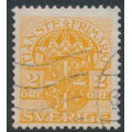 SWEDEN - 1913 2öre orange Official (Tjänstemarke), inverted lines + KPV watermark, used – Facit # TJ41cxz