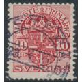 SWEDEN - 1911 10öre red Official (Tjänstemärke), inverted lines + KPV watermark, used – Facit # TJ47cxz