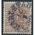SWEDEN - 1912 30öre brown Official (Tjänstemarke), inverted lines + KPV watermark, used – Facit # TJ52cxz