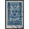 SWEDEN - 1916 10öre + 4.90Kr. on 5Kr. blue GPO Landstorm II overprint, used – Facit # 125