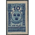 SWEDEN - 1916 10öre + 4.90Kr. on 5Kr. blue GPO Landstorm II overprint, MNH – Facit # 125