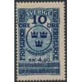 SWEDEN - 1916 10öre + 4.90Kr. on 5Kr. blue GPO Landstorm II overprint, MNH – Facit # 125