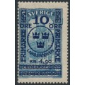 SWEDEN - 1916 10öre + 4.90Kr. on 5Kr. blue GPO Landstorm II overprint, MH – Facit # 125
