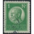 SWEDEN - 1924 1Kr. green World Postal Congress, used – Facit # 208