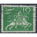SWEDEN - 1924 10öre green UPU Anniversary with lines + KPV watermark, used – Facit # 212cxz