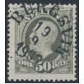 SWEDEN - 1891 50öre olive-grey Oscar II, variety 'white head' (blekt huvud), used – Facit # 59d