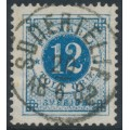 SWEDEN - 1877 12öre dull blue Ring Type, perf. 13, variety 'shaded 1', used – Facit # 32ev5