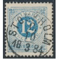 SWEDEN - 1877 12öre blue Ring Type, perf. 13, variety 'gap in NW of frame', used – Facit # 32h