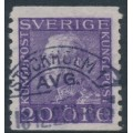 SWEDEN - 1921 20öre violet King Gustav V with KPV watermark, used – Facit # 179Afbz
