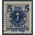 SWEDEN - 1916 5+FEM öre on 1öre black Postage Due Landstorm II overprint, used – Facit # 115
