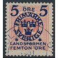SWEDEN - 1916 5+FEMTON öre on 12öre red Postage Due Landstorm II overprint, used – Facit # 119a