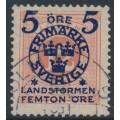SWEDEN - 1916 5+FEMTON öre on 12öre red Postage Due Landstorm II overprint, used – Facit # 119a