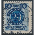 SWEDEN - 1916 10+TJUGO öre on 20öre blue Postage Due Landstorm II overprint, used – Facit # 120a