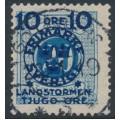 SWEDEN - 1916 10+TJUGO öre on 20öre blue Postage Due Landstorm II overprint, used – Facit # 120a