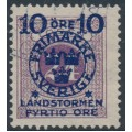 SWEDEN - 1916 10+FYRTIO öre on 24öre red-lilac Postage Due Landstorm II overprint, used – Facit # 121b