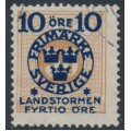 SWEDEN - 1916 10+FYRTIO öre on 50öre yellowish orange-brown P. Due Landstorm II overprint, used – Facit # 123a