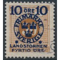 SWEDEN - 1916 10+FYRTIO öre on 50öre orange-brown Postage Due Landstorm II overprint, used – Facit # 123b