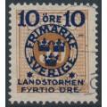 SWEDEN - 1916 10+FYRTIO öre on 50öre orange-brown Postage Due Landstorm II overprint, used – Facit # 123b