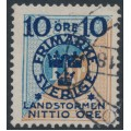 SWEDEN - 1916 10+NITTIO öre on 1Kr. blue/brown Postage Due Landstorm II overprint, used – Facit # 124