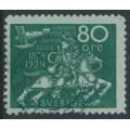 SWEDEN - 1924 80öre blue-green UPU Anniversary, used – Facit # 222