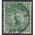 SWEDEN - 1911 5öre dark green Gustav V in medallion with crown watermark, used – Facit # 75a