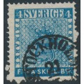 SWEDEN - 1855 4Skilling deep bright blue (dense background) Coat of Arms, used – Facit # 2g