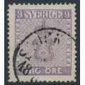 SWEDEN - 1858 9öre red-violet Coat of Arms, used – Facit # 8a