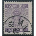 SWEDEN - 1858 9öre blue-lilac Coat of Arms, used – Facit # 8c