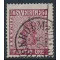 SWEDEN - 1858 50öre bright dark carmine Coat of Arms, used – Facit # 12c