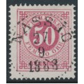 SWEDEN - 1886 50öre carmine-rose Ring Type, perf. 13 with posthorn, used – Facit # 48a
