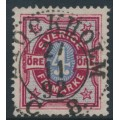 SWEDEN - 1892 4öre deep dull carmine/ultramarine-blue Bicoloured Numeral, used – Facit # 64a
