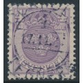 SWEDEN - 1911 4öre blue-lilac Small Coat of Arms, inverted lines + KPV watermark, used – Facit # 74cxz