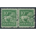 SWEDEN - 1921 10öre green Lion, perf. 9¾ four sides, lines watermark, pair, used – Facit # 144Ccx