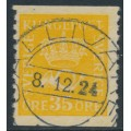 SWEDEN - 1922 35öre yellow Crown & Posthorn with lines watermark, used – Facit # 156cx